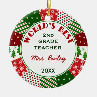 Ornement Rond En Céramique Pour le cadeau préféré de Noël de professeur