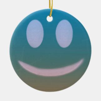Ornement Rond En Céramique Pourpre bleu d'émoticône souriante