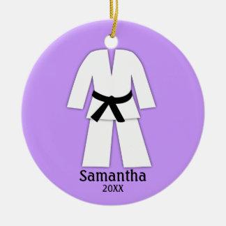 Ornement Rond En Céramique Pourpre de ceinture noire de karaté du Taekwondo