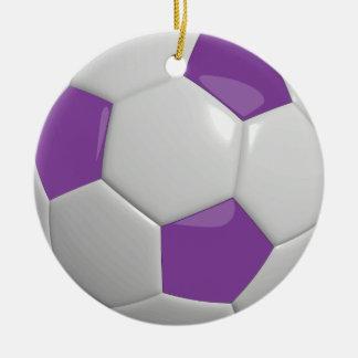 Ornement Rond En Céramique Pourpre du ballon de football |