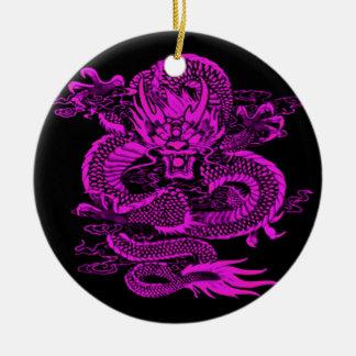 Ornement Rond En Céramique Pourpre épique de dragon