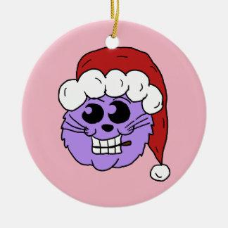 Ornement Rond En Céramique Pourpre Kitty de Noël
