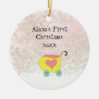 Ornement Rond En Céramique Premier Noël avec des erreurs jaune de Babys