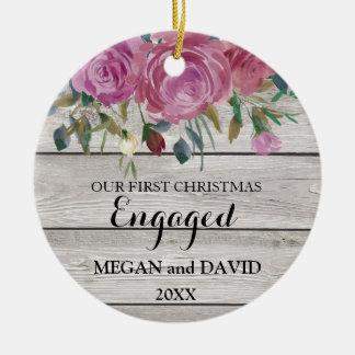 Ornement Rond En Céramique Premier Noël chic rustique engagé ou marié