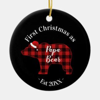 Ornement Rond En Céramique Premier Noël comme plaid de Buffalo d'ours de papa