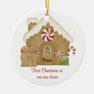 Ornement Rond En Céramique Premier Noël dans notre nouvelle maison