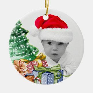 Ornement Rond En Céramique Premier Noël de la photo du bébé