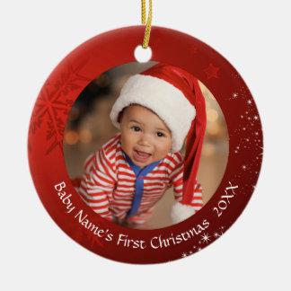 Ornement Rond En Céramique Premier Noël du bébé, flocon de neige rouge,