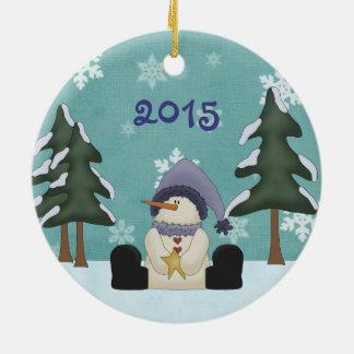 Ornement Rond En Céramique Premier Noël du bébé mignon personnalisé de