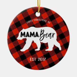 Ornement Rond En Céramique Premier Noël en tant que maman Bear Ornament