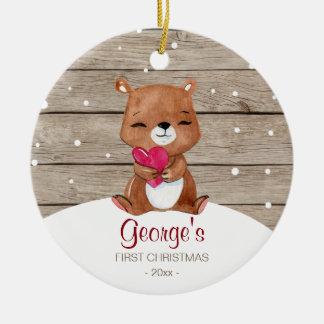 Ornement Rond En Céramique Premier ours d'aquarelle de l'ornement | de Noël