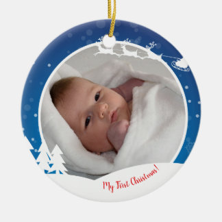 Ornement Rond En Céramique Première photo de bébé de Noël