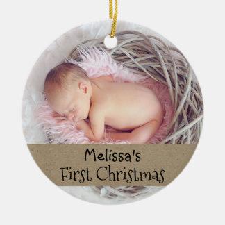 Ornement Rond En Céramique Premières vacances de photo de Noël de bébé