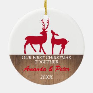 Ornement Rond En Céramique Premiers de Noël cerfs communs rustiques de