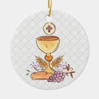 Ornement Rond En Céramique Premiers symboles de communion