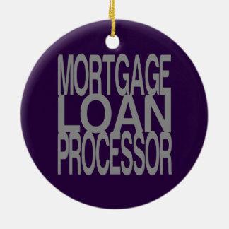 Ornement Rond En Céramique Processeur de prêt hypothécaire en texte argenté