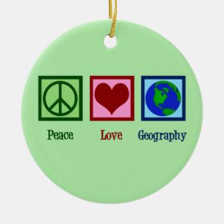 Ornement Rond En Céramique Professeur de géographie d'amour de paix
