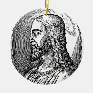 Ornement Rond En Céramique Profil de Jésus-Christ