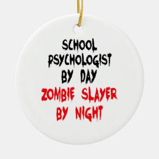 Ornement Rond En Céramique Psychologue d'école de tueur de zombi