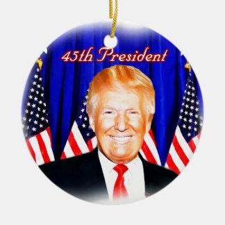 Ornement Rond En Céramique quarante-cinquième _D'atout de Président-Donald