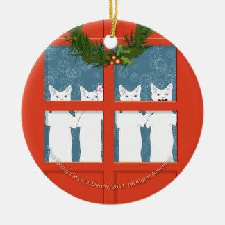 Ornement Rond En Céramique Quatre chats appelants…
