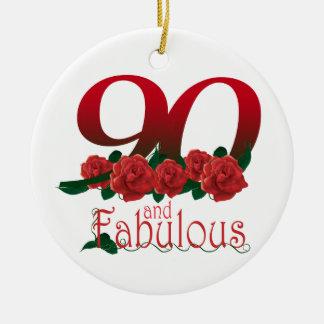 Ornement Rond En Céramique quatre-vingt-dixième fleur d'anniversaire