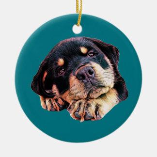 Ornement Rond En Céramique Race allemande canine de chien de Rott d'amour de