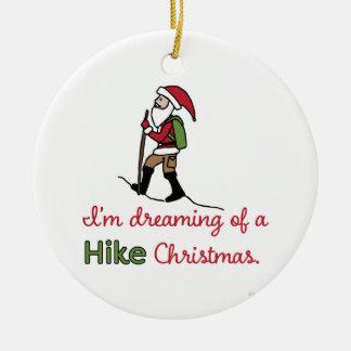 Ornement Rond En Céramique Randonnée Père Noël