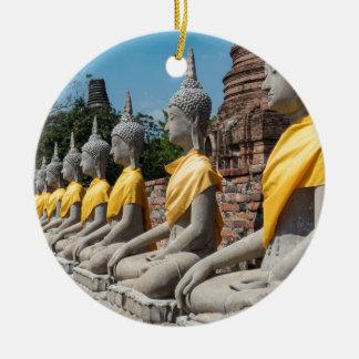 Ornement Rond En Céramique Rangée des statues de Bouddha, Ayutthaya,