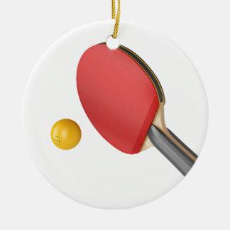 Ornement Rond En Céramique Raquette et boule de ping-pong