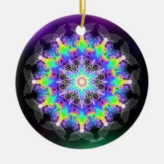Ornement Rond En Céramique Rassembler la force de la vie/couleurs de Noël