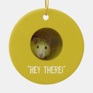 Ornement Rond En Céramique Rat mignon chez un animal drôle de trou