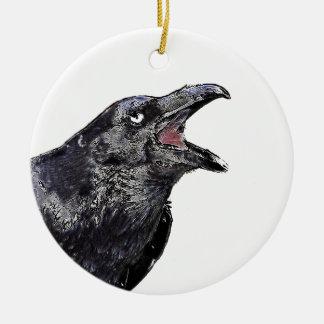Ornement Rond En Céramique Raven appelle noir