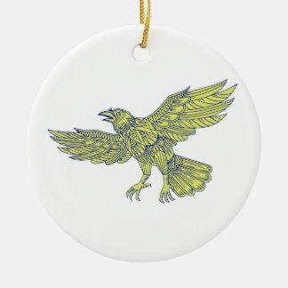 Ornement Rond En Céramique Raven commun pilotant le mandala