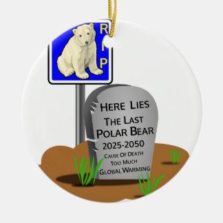 Ornement Rond En Céramique Réchauffement climatique, ours blanc 2050 de