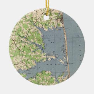 Ornement Rond En Céramique Rehoboth vintage et Bethany Beach DE Map (1944)