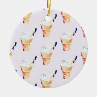 Ornement Rond En Céramique Reine de crème glacée
