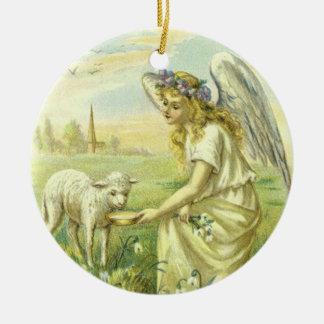 Ornement Rond En Céramique Religion vintage, ange victorien de Pâques avec