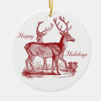 Ornement Rond En Céramique Renne de cerfs communs rouges dans Noël de coutume