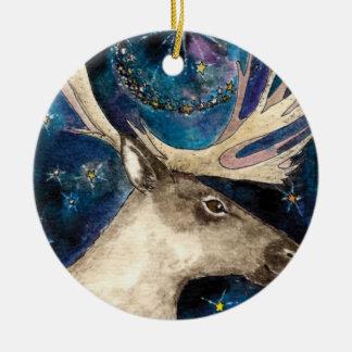Ornement Rond En Céramique Renne de Noël la nuit avec une étoile brillante