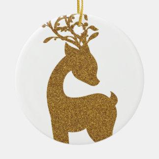Ornement Rond En Céramique Renne de vacances de Noël de parties scintillantes