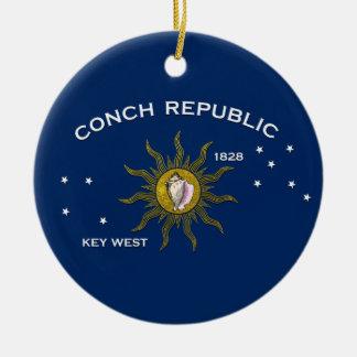 Ornement Rond En Céramique République Key West de conque
