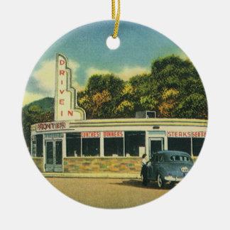 Ornement Rond En Céramique Restaurant vintage, commande de les années 50 dans