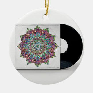 Ornement Rond En Céramique Rétro disque vinyle et douille psychédélique de
