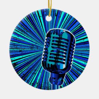 Ornement Rond En Céramique Rétro microphone bleu