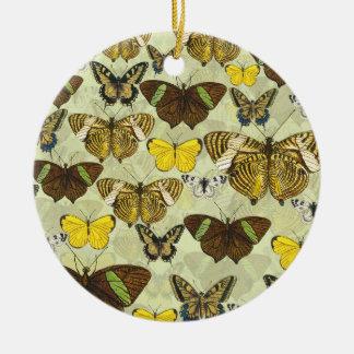 Ornement Rond En Céramique Rétro motif de papillons vintage