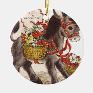 Ornement Rond En Céramique Rétro petite Saint-Valentin douce vintage d'âne