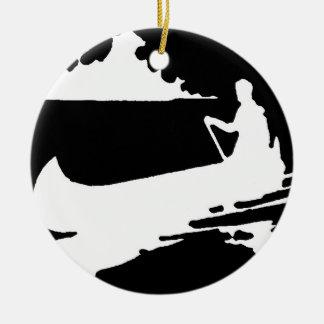 Ornement Rond En Céramique Rétro silhouette de canoë