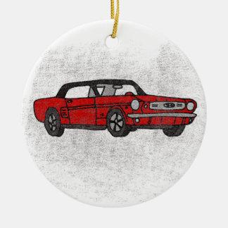 Ornement Rond En Céramique Rétro voiture de poney convertible rouge vintage