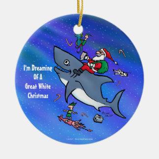 Ornement Rond En Céramique Rêver de grand Noël drôle de requin blanc